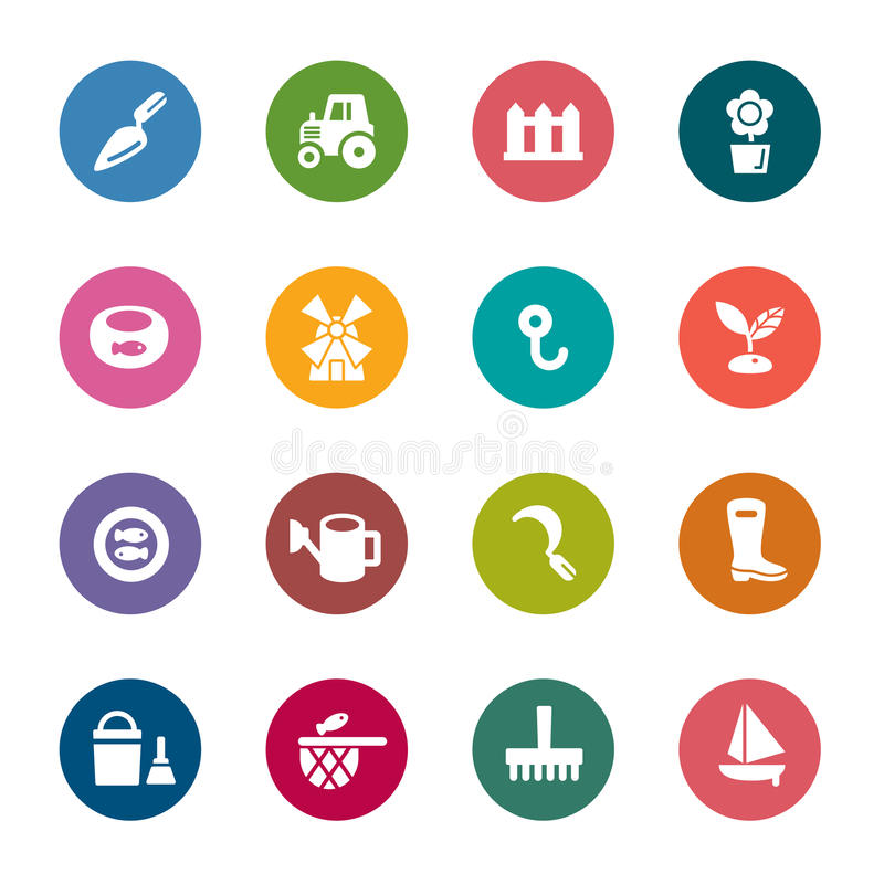 Agriculture and Fisheries Color Icons royalty free stock images