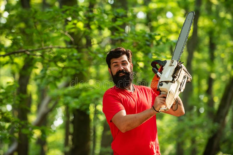 Agriculture and forestry theme. Lumberjack with chainsaw on forest background. Stylish young man posing like lumberjack. stock photography