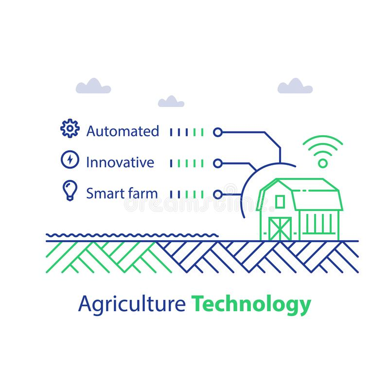 Agriculture futée, technologie d'agriculture, maison de grange et solution de signal, automatisé et innovatrice sans fil illustration libre de droits