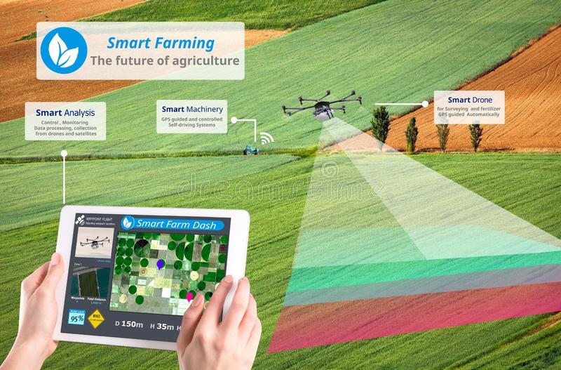 Agriculture fut?e, r?volution de pointe d'agriculture, bourdon AI automatique, conceptuelle photos libres de droits