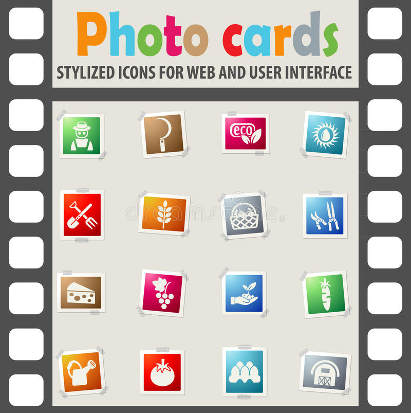 Agriculture icon set. Agriculture web icons on color photo cards for user interface royalty free illustration