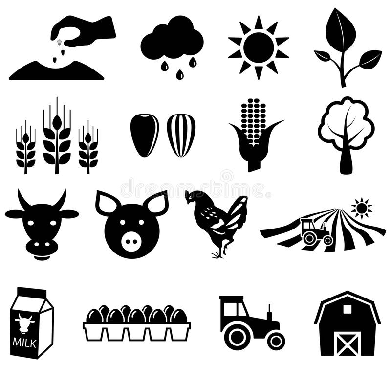 Agriculture icons. Black agriculture icons, vector illustrations vector illustration