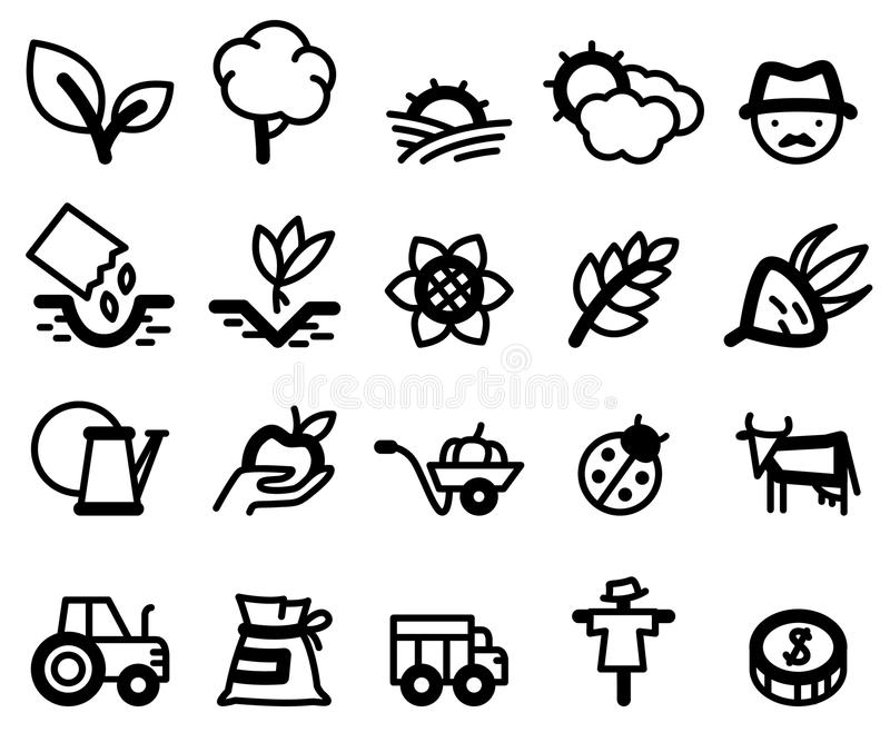 Agriculture icons. Agriculture and farm minimalistic icons set stock illustration