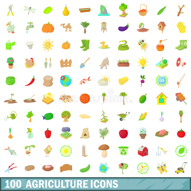 100 agriculture icons set, cartoon style vector illustration