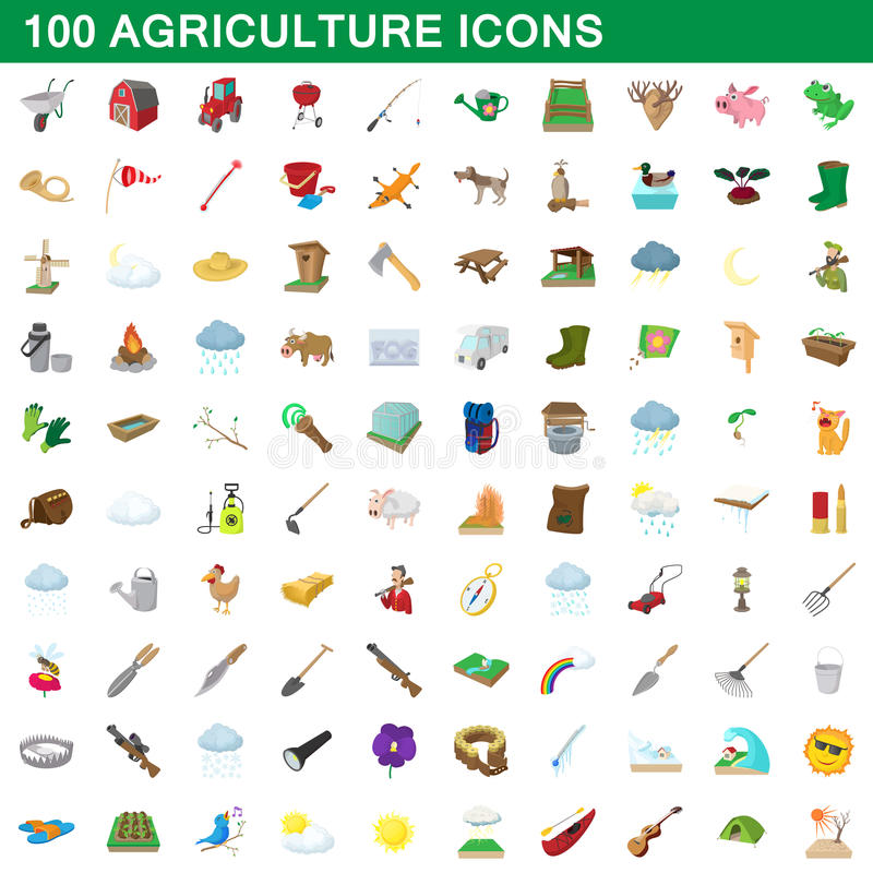100 agriculture icons set, cartoon style stock illustration