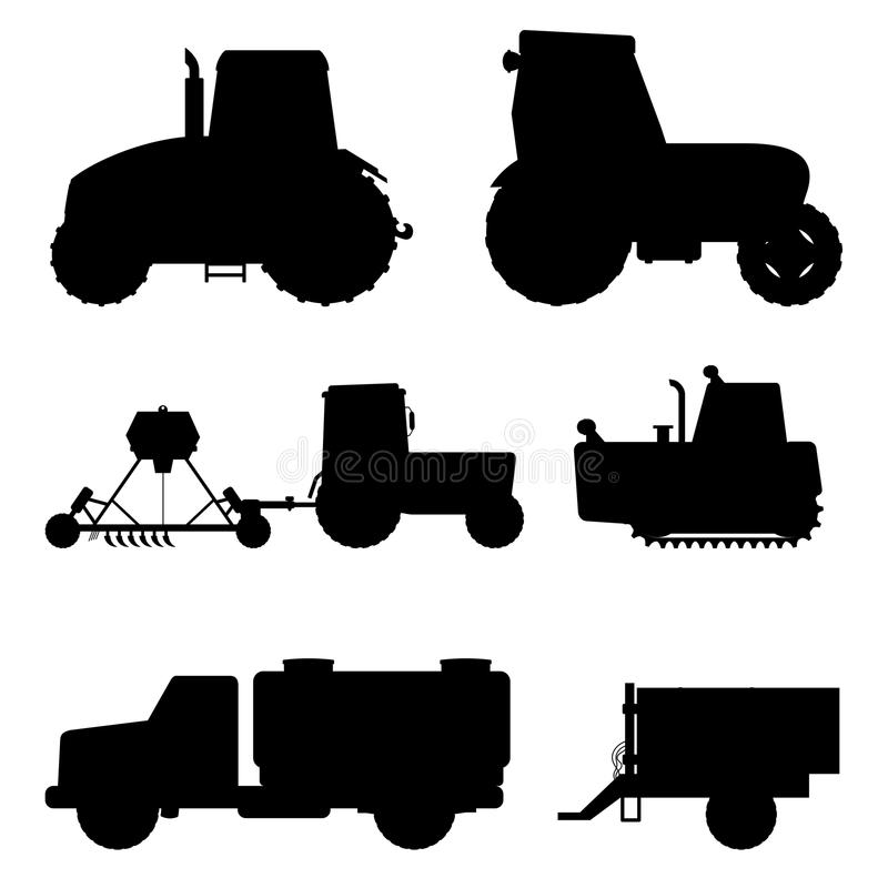 Agriculture industrial farm equipment black silhouette machinery tractors combines and excavators vector illustration. Combine harvester farming work vector royalty free illustration