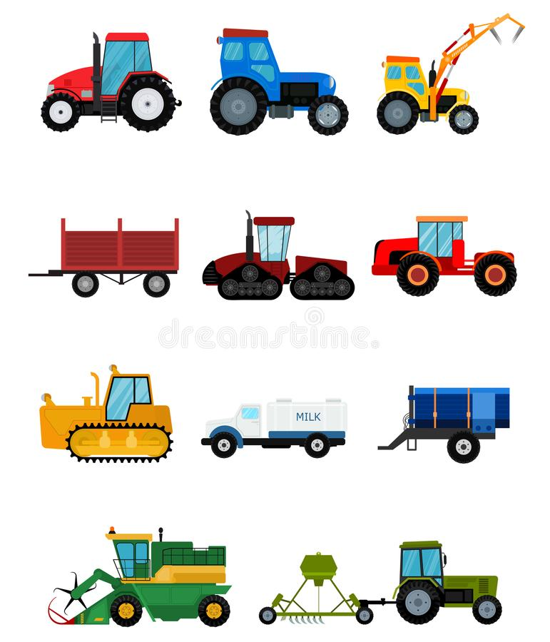 Agriculture industrial farm equipment harvest machine tractors combines and machinery excavators vector illustration. Agriculture industrial farm equipment vector illustration