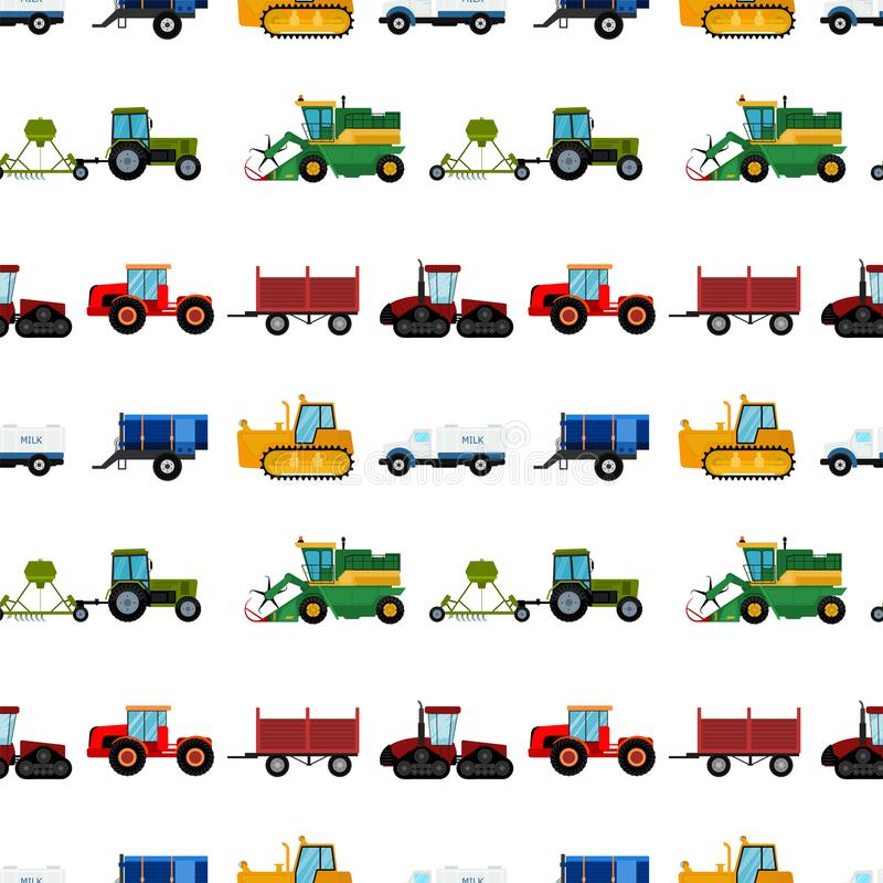 Agriculture industrial farm equipment seamless pattern background machinery tractors combines and excavators vector. Illustration. Combine harvester farming stock illustration