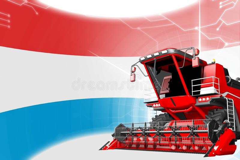 Digital industrial 3D illustration of red advanced farm combine harvester on Luxembourg flag - agriculture equipment innovation. Agriculture innovation concept royalty free illustration