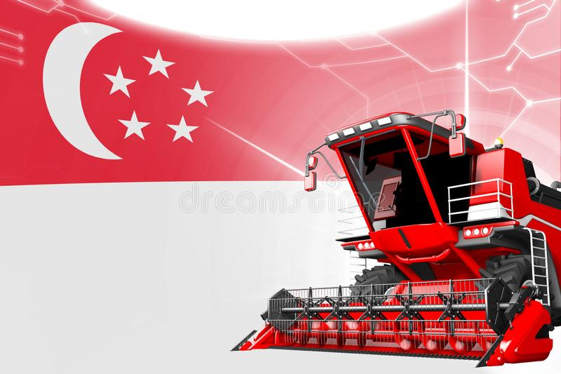 Agriculture innovation concept, red advanced farm combine harvester on Singapore flag - digital industrial 3D illustration. Digital industrial 3D illustration of royalty free illustration