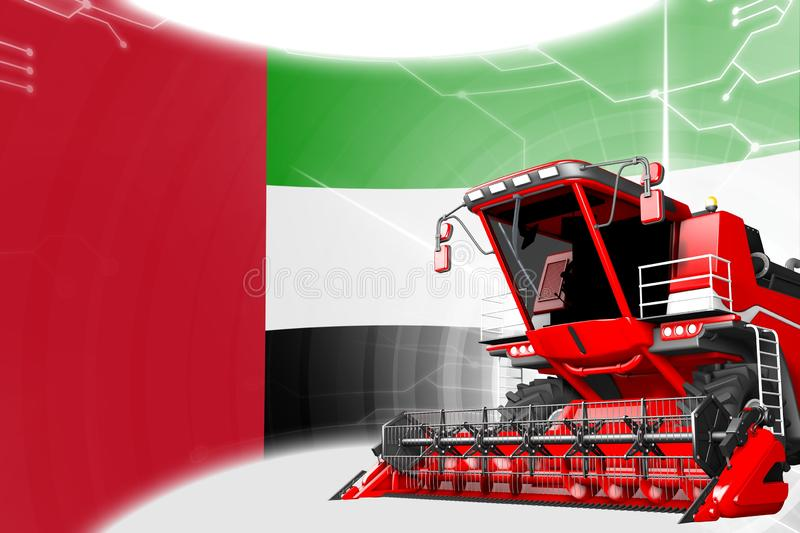 Digital industrial 3D illustration of red advanced farm combine harvester on United Arab Emirates flag - agriculture equipment. Agriculture innovation concept vector illustration