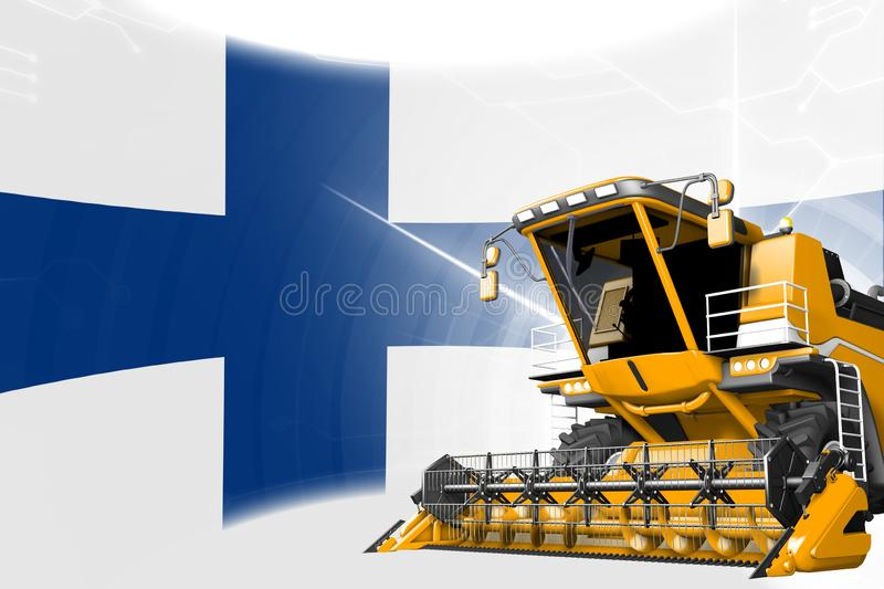 Digital industrial 3D illustration of yellow advanced rural combine harvester on Finland flag - agriculture equipment innovation. Agriculture innovation concept vector illustration