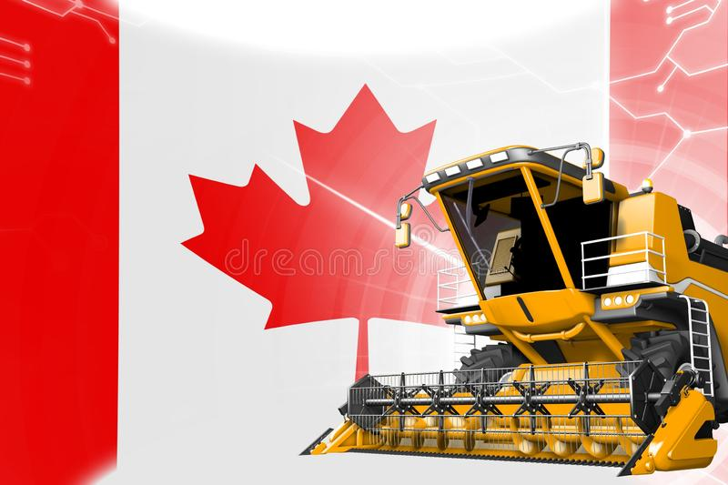 Agriculture innovation concept, yellow advanced grain combine harvester on Canada flag - digital industrial 3D illustration. Digital industrial 3D illustration vector illustration