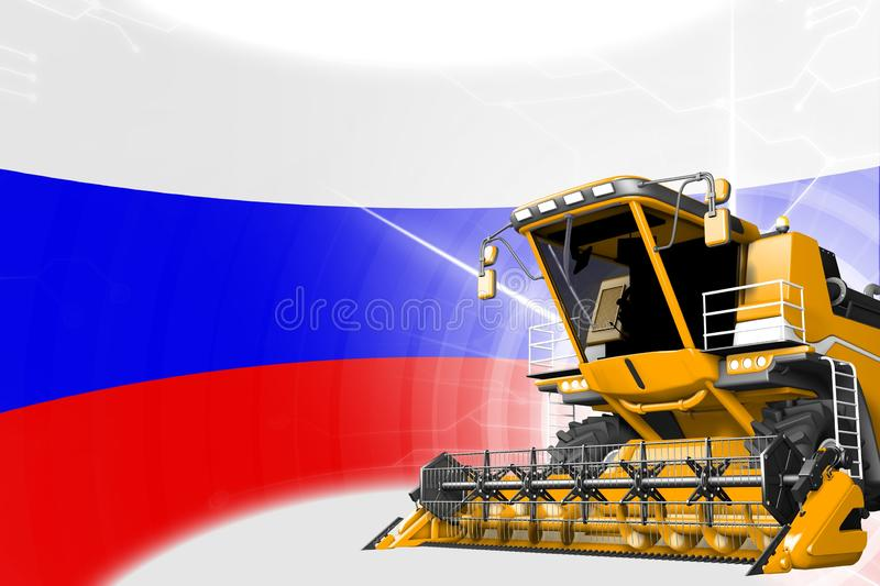 Digital industrial 3D illustration of yellow advanced rye combine harvester on Russia flag - agriculture equipment innovation. Agriculture innovation concept royalty free illustration