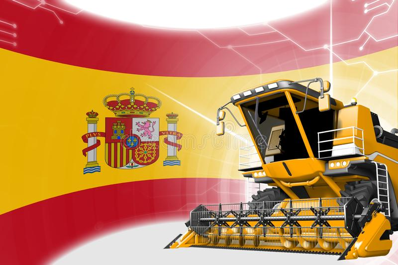 Digital industrial 3D illustration of yellow advanced grain combine harvester on Spain flag - agriculture equipment innovation. Agriculture innovation concept royalty free illustration