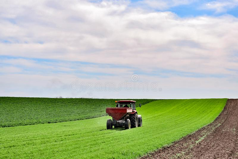 Tractor work on the field. Applying fertilizer in spring. Agriculture landscape. Tractor spreading mineral fertilizer in wheat field stock photos