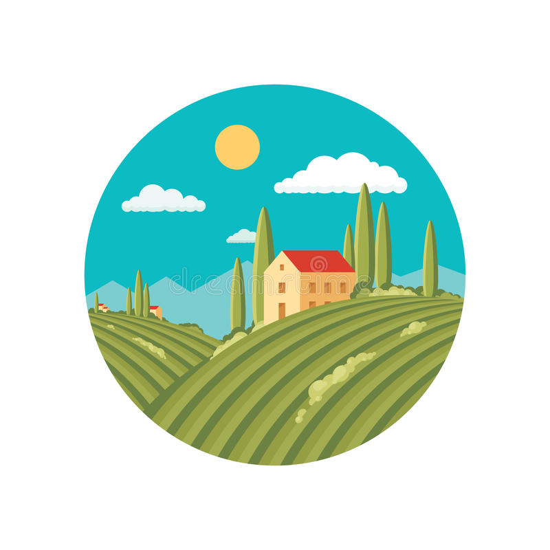 Agriculture landscape with vineyard. Vector abstract illustration in flat style design. Vector logo template. Italian Tuscany landscape with rolling hills and stock illustration