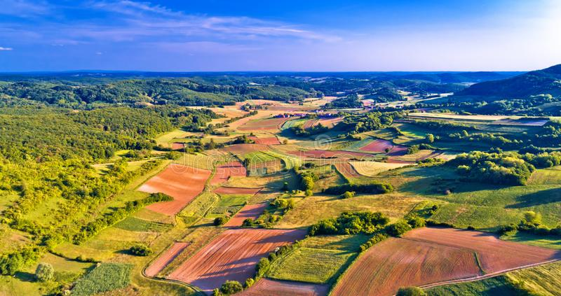 Agriculture layers of Prigorje region near Apatovec village aerial view. Northern Croatia royalty free stock photos