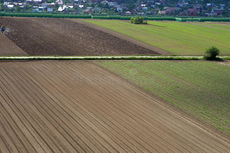 The Agriculture - Linear irrigation of an early growth spring cr. Agriculture - Linear irrigation of an early growth spring crop royalty free stock photo