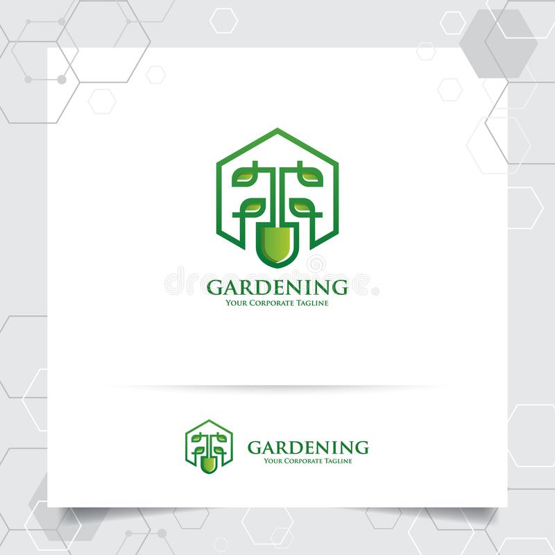 Agriculture logo design with concept of gardening tools icon and leaves vector. Green nature logo used for agricultural systems, stock illustration