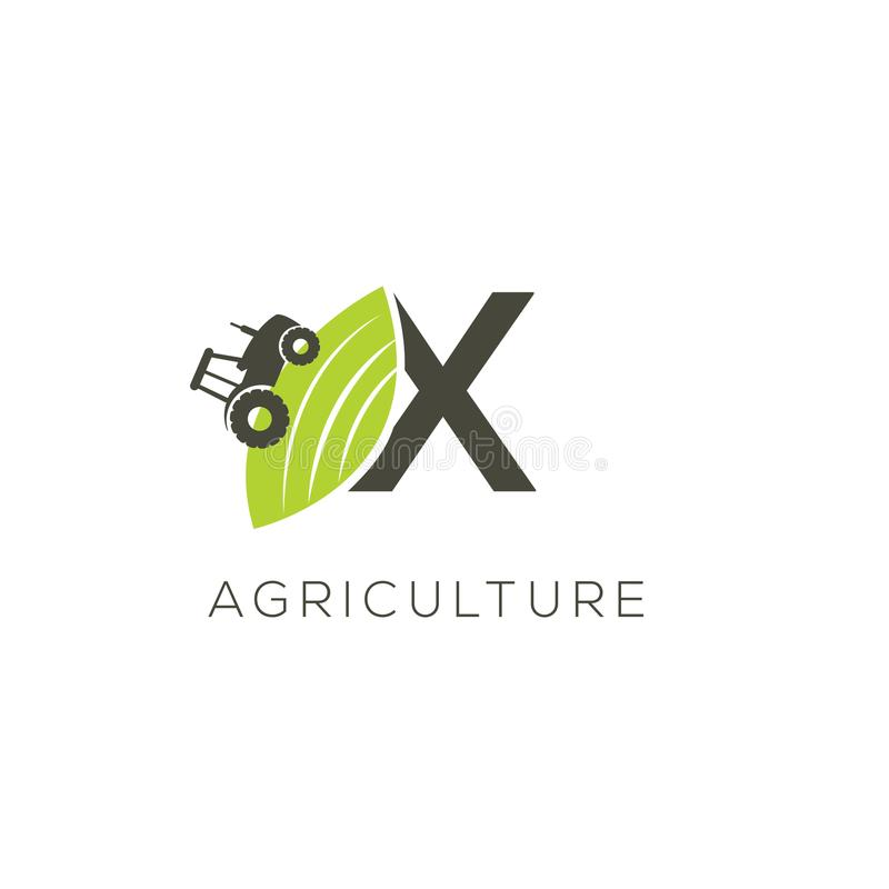 Agriculture logo letter X. Tractor icon. Green food emblem vector illustration