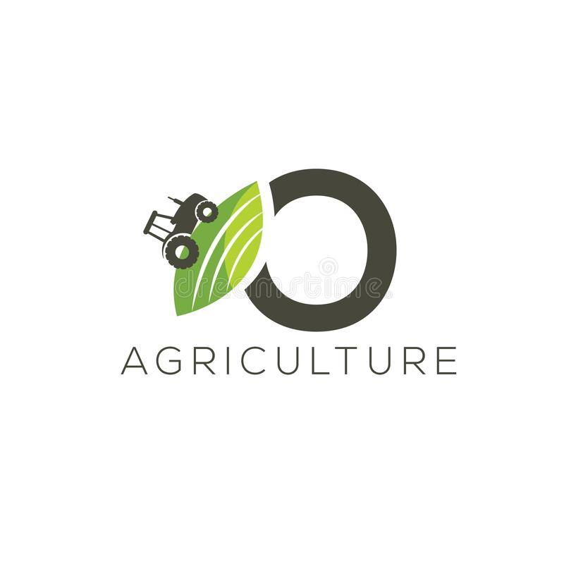 Agriculture logo letter O. Tractor icon. Green food emblem stock illustration