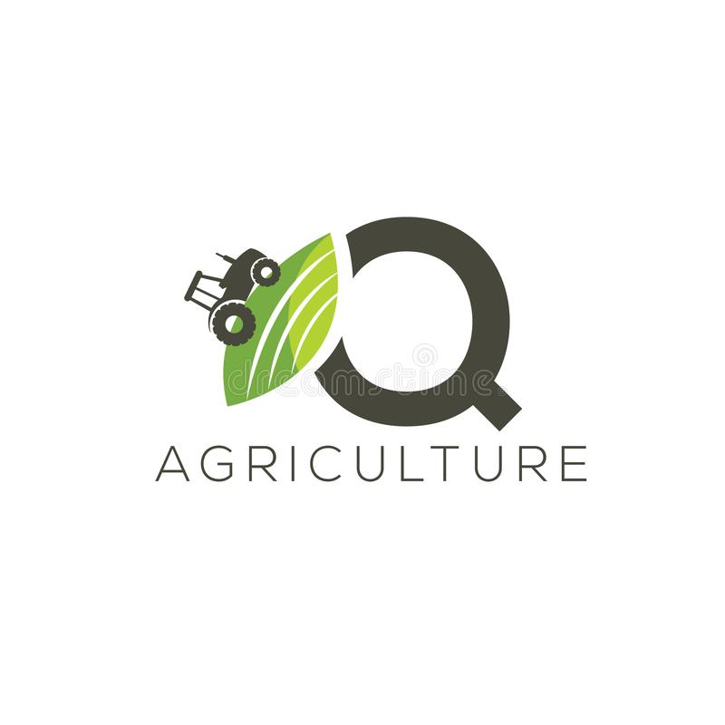 Agriculture logo letter Q. Tractor icon. Green food emblem stock illustration