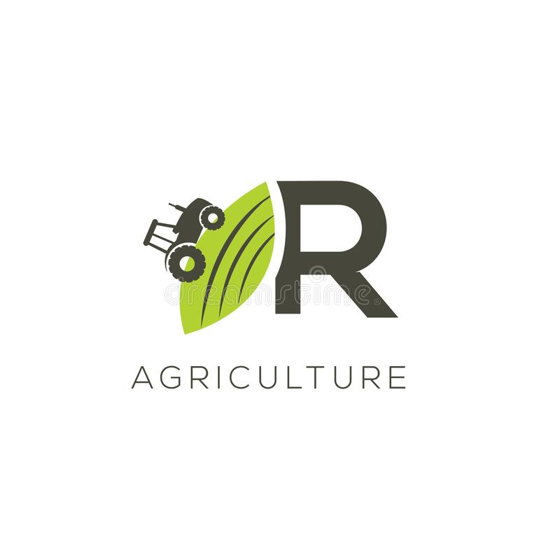 Agriculture logo letter R. Tractor icon. Green food emblem stock illustration