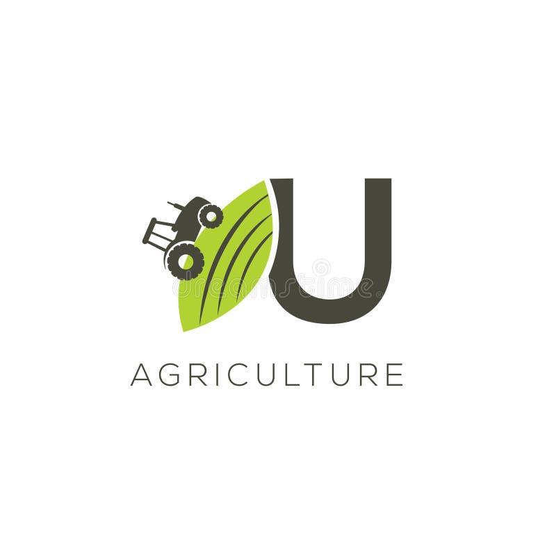 Agriculture logo letter U. Tractor icon. Green food emblem stock illustration