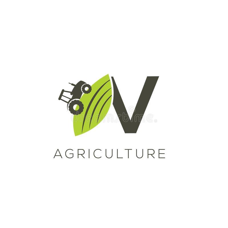 Agriculture logo letter V. Tractor icon. Green food emblem vector illustration