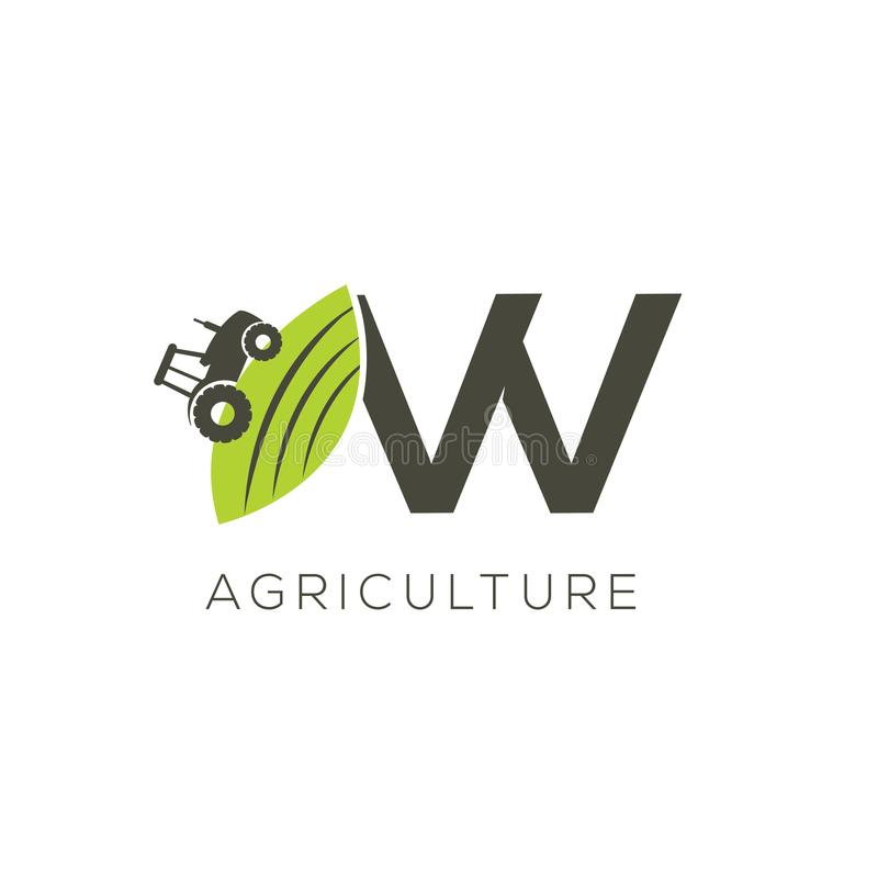 Agriculture logo letter W. Tractor icon. Green food emblem vector illustration