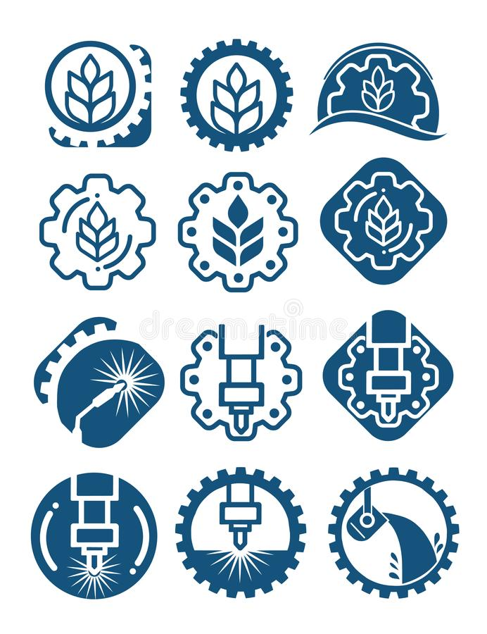 Free Agriculture Logo Set With Cereal Grains And Industrial Gears. Industrial And Agricultural Icon Isolated With Gears Stock Photo - 114716590
