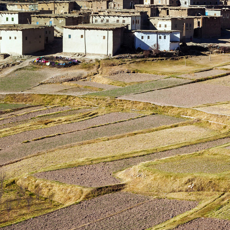 Agriculture in Moroccan Berber village. Agriculture in Berber village, Morocco. Aerial view of farmland stock photos