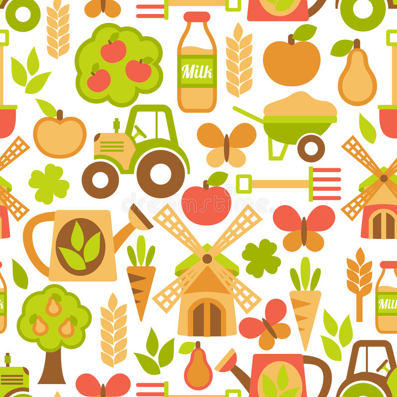 Download Agriculture Seamless Pattern Stock Vector - Illustration of farming, mill: 39503121