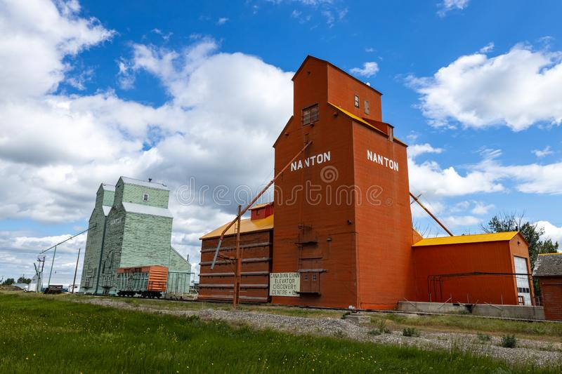 Agriculture silos at Nanton in Alberta Canada. The Agriculture silos at Nanton in Alberta Canada stock images