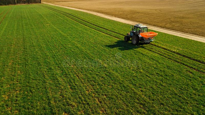 Agriculture. Tillage tractor . Aerial survey stock images