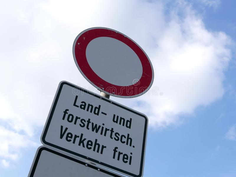 Agriculture Traffic Sign In German Language Stock Image Image Of