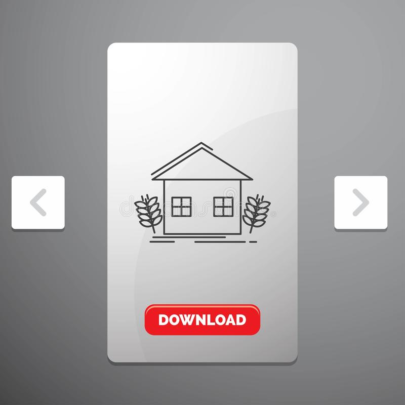 Agriculture, urban, ecology, environment, farming Line Icon in Carousal Pagination Slider Design & Red Download Button. Vector EPS10 Abstract Template royalty free illustration