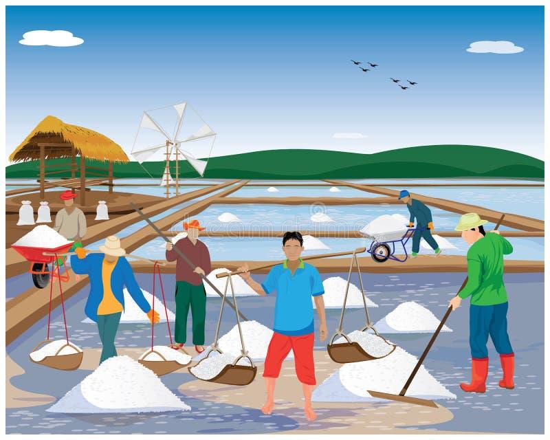 Agriculturist cartoon shape work with salt in saline field. Vector design vector illustration
