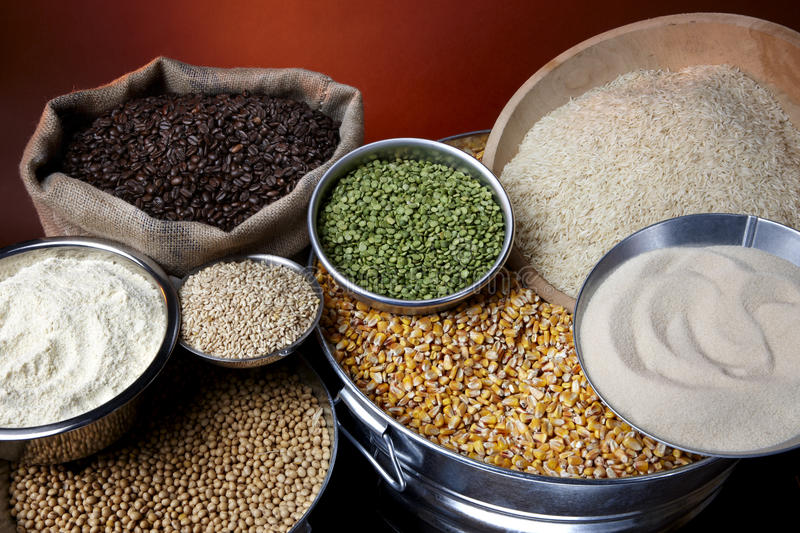 Agricutural commodities. Still life shot of agricultural commodities such as grains and beans royalty free stock photography
