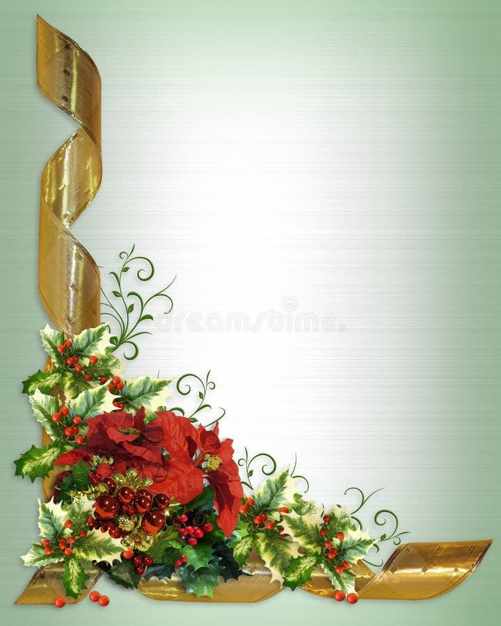 Agrifoglio del bordo della cartolina di Natale floreale royalty illustrazione gratis