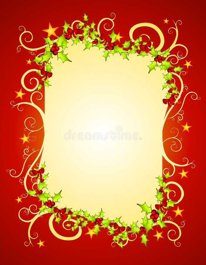 Agrifoglio e stelle rossi di natale illustrazione vettoriale