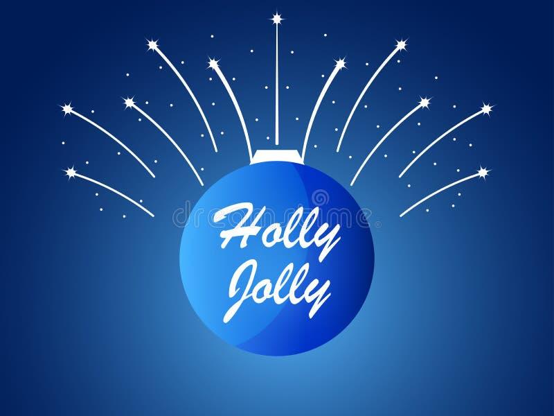 Agrifoglio gradevolmente Palla di Natale e fuochi d'artificio, scintille con le stelle Vettore illustrazione di stock