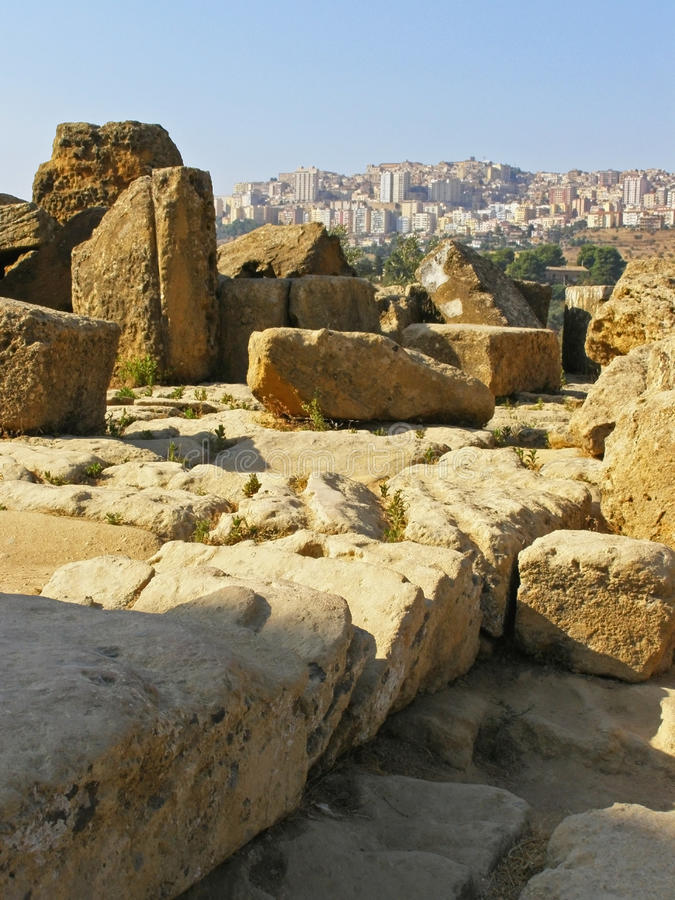 agrigento archaeological italy fördärvar townen arkivbild