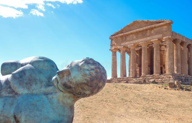 The beauty of art and nature of the Agrigento province royalty free stock photo