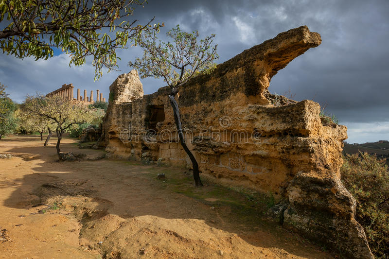Agrigento, Italy - October 15, 2009: ancient Greek landmark in t. He Valley of the Temples outside Agrigento, Sicily stock images