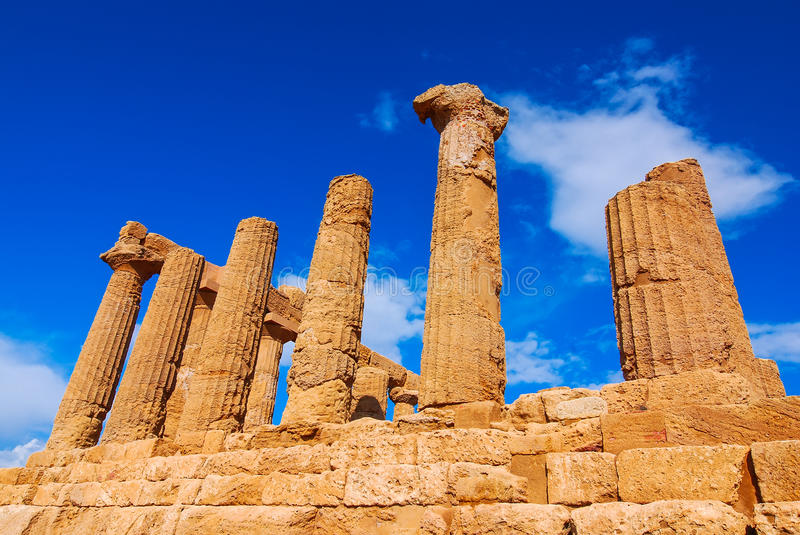Agrigento, Sicily. Sicily. Temple of Hercules, greek Doric style temple in the ancient city of Akragas, located in the Valle dei Templi in Agrigento. Italy stock image