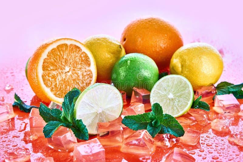 Agrios: cal, naranja, limón con la menta y cubos de hielo en un fondo coralino Frutas frescas del verano imagen de archivo libre de regalías