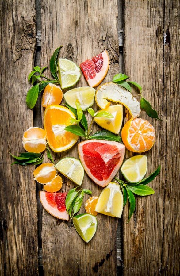Agrios - pomelo, naranja, mandarina, limón y cal, cortados y enteros con las hojas imagen de archivo
