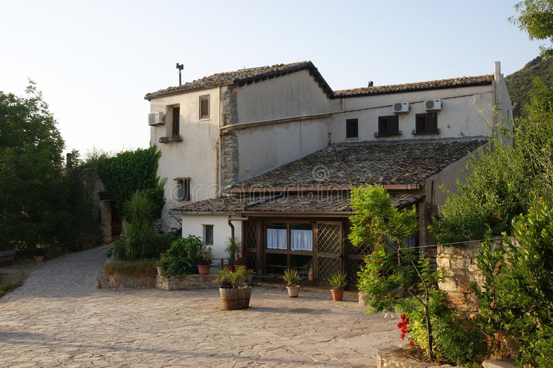 Agriturismo. An Agriturismo in the country in marineo near Palermo (Italy) and cat stock photos